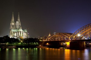 PHOTO: The Hohenzollern Bridge is used by all trains crossing the Rhine to enter Cologne from the east. Cologne's great cathedral, seen in this shot, is right by the main railway station. Photo by Dirk Ziegener posted on FreeImages.com